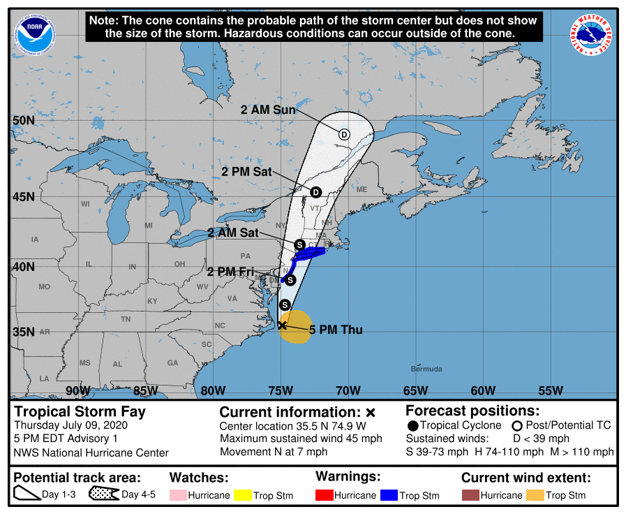 NEW: Tropical Storm #Fay has formed this afternoon.  Tropical Storm Warnings have been issued from Cape May, NJ to Watch Hill, RI, including Long Island.  Full advisory: https://t.co/tW4KeFW0gB https://t.co/oI4hHVQVtY