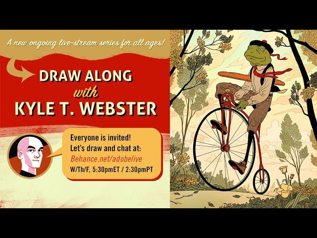 Join illustrator @kyletwebster as he shares drawing & inspiration for kids of all ages! Watch as Kyle incorporates real time chat feedback into his illustration process & creates along with you: https://t.co/wpiETJ3OOb https://t.co/k2gYOFqd96