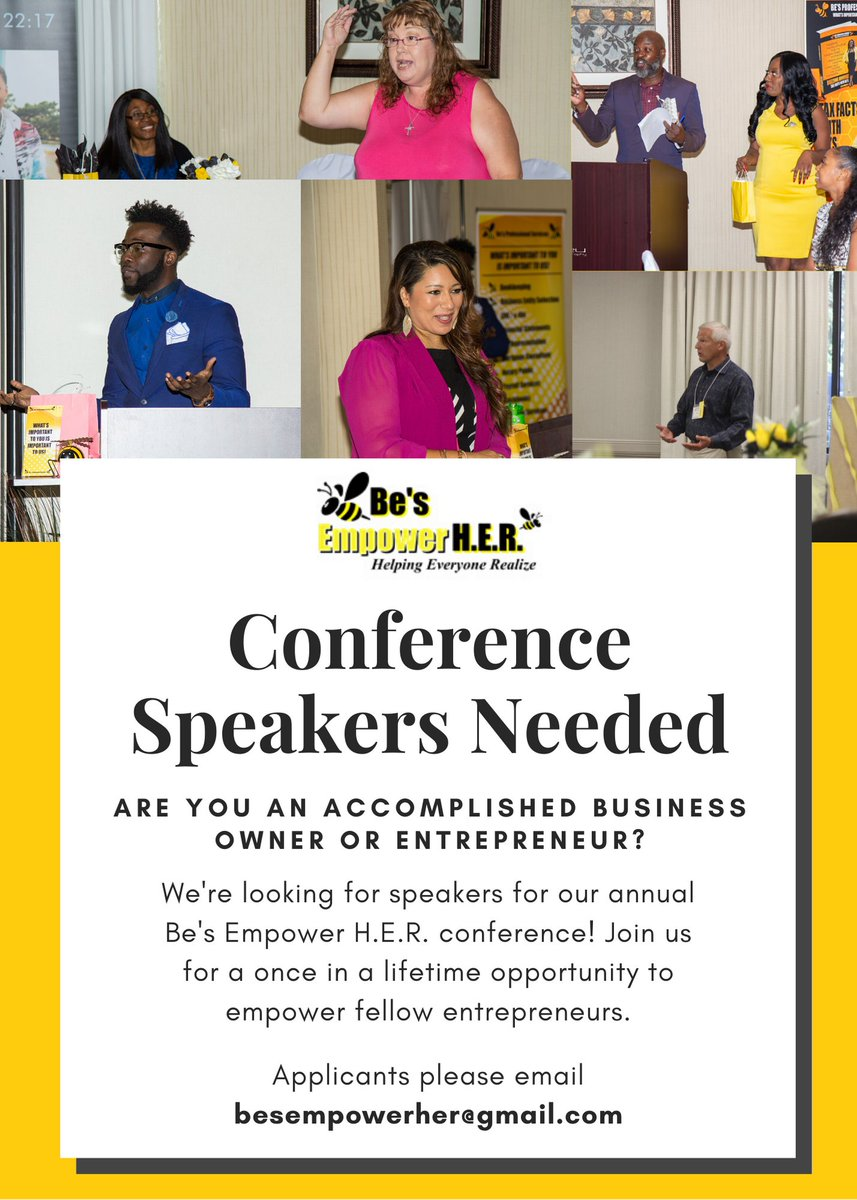 We want YOU to apply to be a speaker for our Be's Empower H.E.R. Conference! Email us at besempowerher@gmail.com to speak to fellow entrepreneurs 🐝 #besproservices #taxseasonreadybesps #besprofessionalservices #Empowerher #Entrepreneur #Business #opportunity #WomeninBusiness https://t.co/PFi70xZrpJ