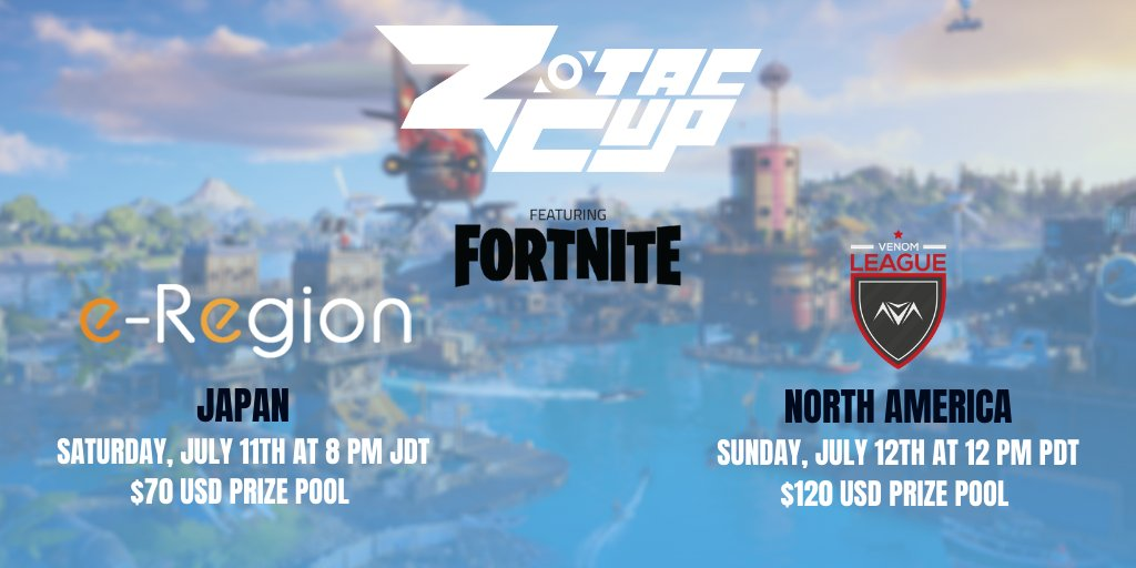 It's the tale of two orgs with @ZotacCup this weekend featuring #Fortnite: @e_region_FORTNI solos for the Japan region and @vnmTourney duos for North America-- are you in? Sign-up today for FREE https://t.co/6vHtie2eHb https://t.co/pWcZUnDugT
