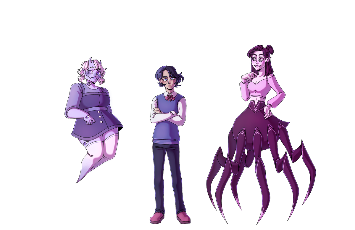 """Don't think I ever posted these on their own, but here are the """"sprites"""" for my final project  Along the line I'd love to do more expressions and poses for them, as if they were to really be used in a game! #conceptart #characterdesignpic.twitter.com/9ciIub4sGh"""