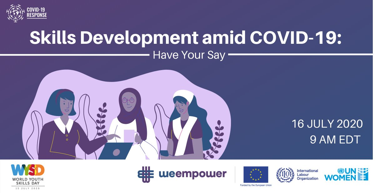 📣📣THIS JUST IN! #WeEmpower 🇪🇺🇺🇳 of @UN_Women @ilo #EU will host a dialogue in honour of World Youth Skills Day (#WYSD). Come share your ideas and recommendations on how to #BuildBackBetter from #COVID19! 🗓️16 July, 9 AM EDT! 🔗Register👉 unwo.men/o12B50Au6k4