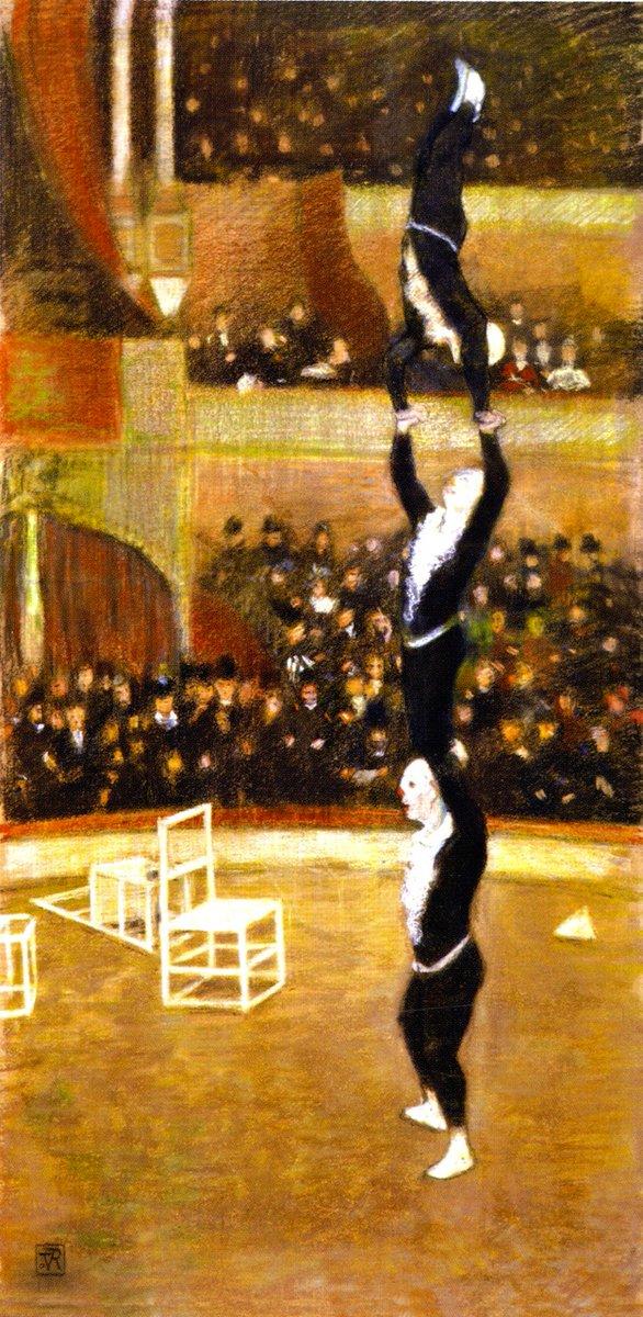 "¡Gracias, Agustín! ¡Buenas noches! :)   ""Acrobats"", 1888.  by Théo van Rysselberghe (Belgian, 1862–1926). #ArteYArt pic.twitter.com/NkBrpqctk6"
