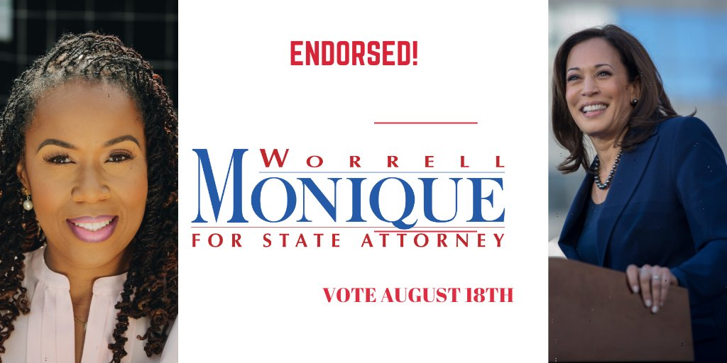 @KamalaHarris knows this country needs leaders with big ideas who are not afraid to stand up to the establishment. That's what I will bring to Orlando, and I'm proud to receive her endorsement for State Attorney. moniqueforstateattorney.com