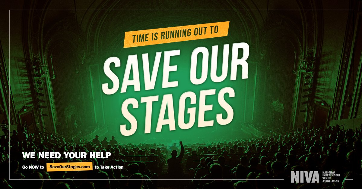 We need your help to keep independent venues, promoters, and festivals alive - Even if you've done it before, head to https://t.co/k8KooZH6Q1 to tell Congress to support the RESTART Act. It takes 30 seconds, it's free and it's urgent. Thanks for supporting #SaveOurStages! https://t.co/MNlwsCSsJn
