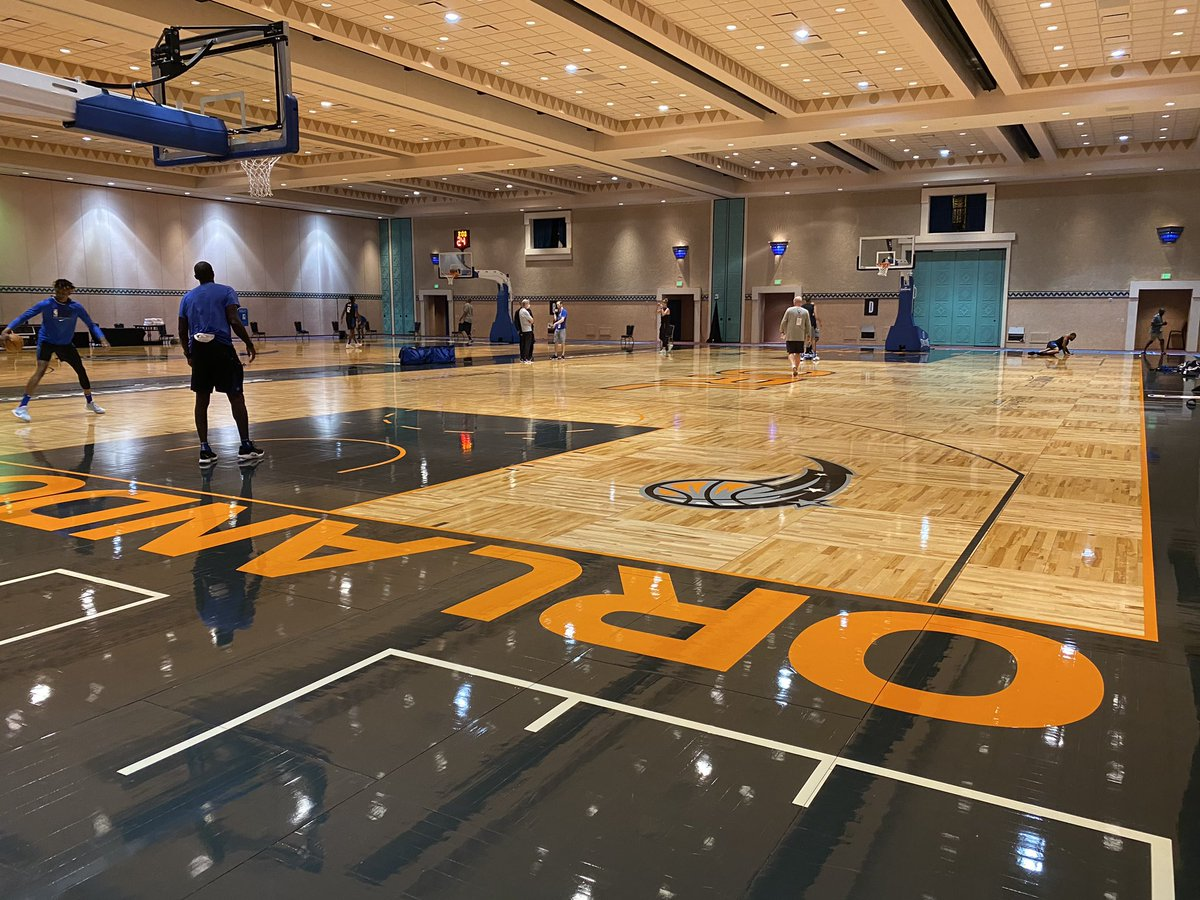 The @OrlandoMagic are the first @NBA team to hit the practice court this afternoon at @WaltDisneyWorld Resorts.  #GameOn #WholeNewGame https://t.co/jgRE7qZFkb