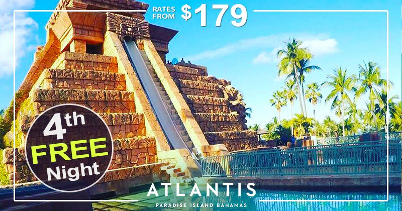 With rates from $179, book 3 nights at Atlantis and get your 4th night free! ☀️🌴💦 Details:  #vacation #vacations #familytravel