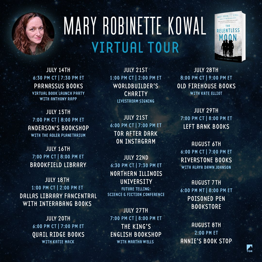 Who's ready for a (virtual) book tour?! Join @MaryRobinette as she celebrates the release of #TheRelentlessMoon this summer, featuring conversations with @alayadj (#TroubletheSaints) and @KateElliottSFF (#UnconquerableSun). Mark your calendars now! 🌙 https://t.co/sGQZOkVQpd