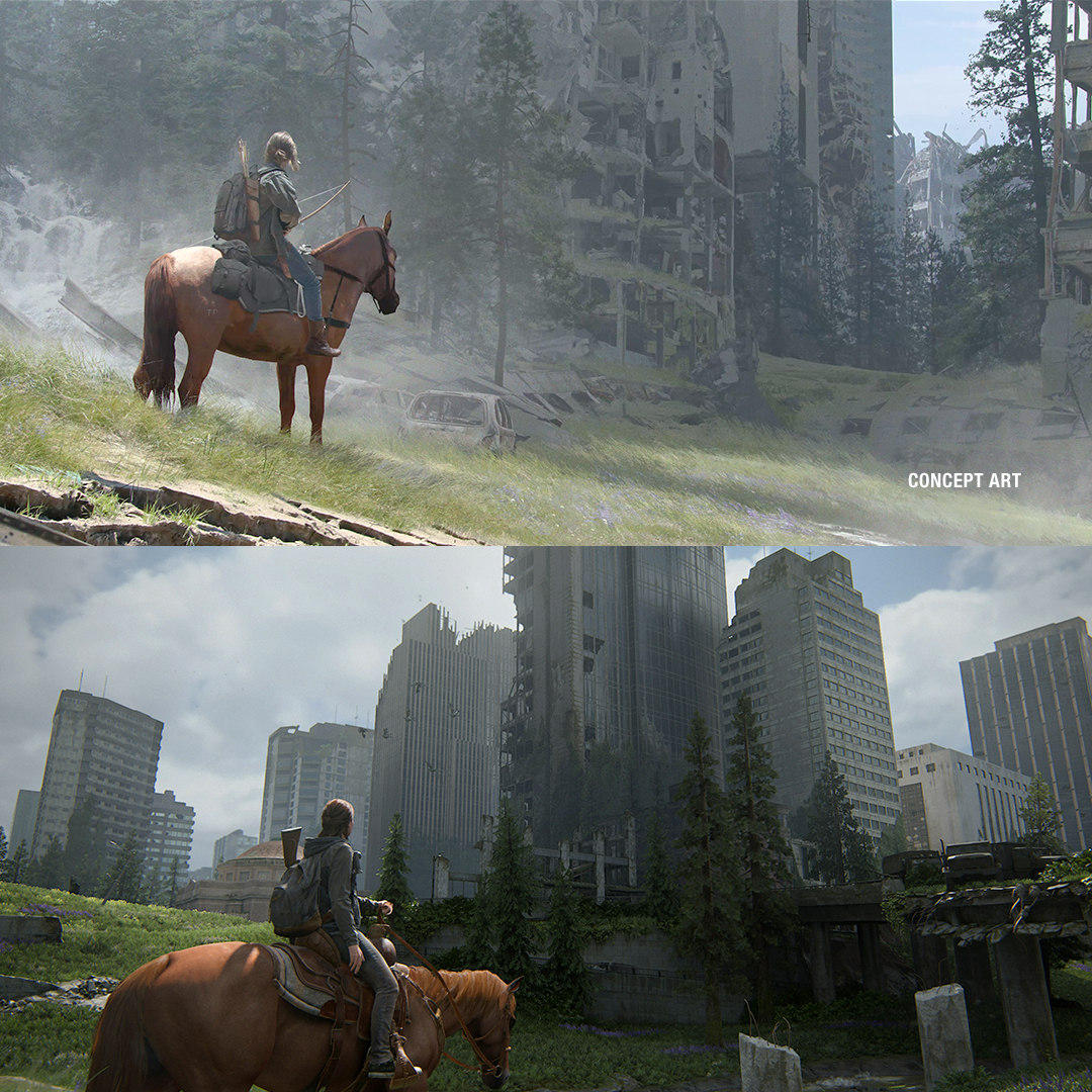 Downtown Seattle in #TheLastofUsPartII: from concept art to the final game.  #ThrowbackThursday #TBT https://t.co/WLLEzBRPVl
