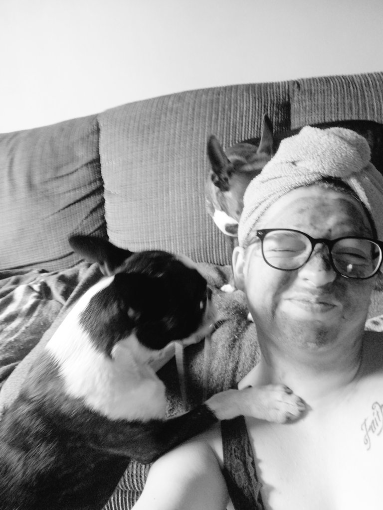 When you have to work but end up playing with the kids and creating a Twitter account. #newtotwitter #work #facemask #bethanytheboston #batmantheboston #bostonterriers #kids