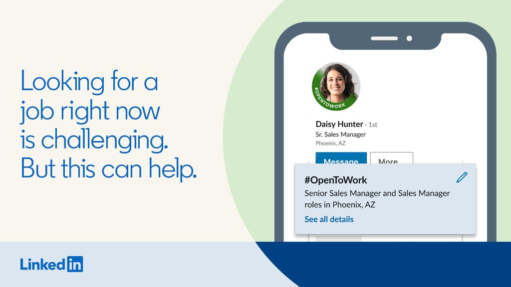 We've made it easier to ask for help on LinkedIn. Tell others you're #OpenToWork. https://t.co/8os44IQdIx https://t.co/sq46RDjRCW
