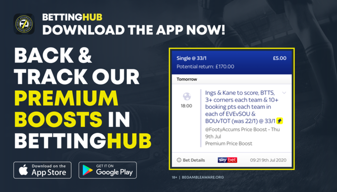 BETTING HUB: Our Betting Hub app allows you to track our Premium Boosts in real time! FREE to install on iOS AND Android HERE 👉 footy.ac/DownloadBettin… 18+ begambleaware