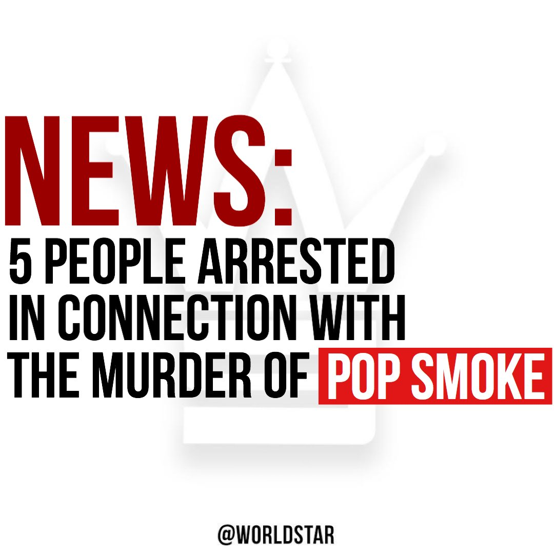 """According to reports, arrests have been made in connection with the murder of #PopSmoke . """"Sources tell us 3 adults and 2 juveniles were arrested. It's unclear what the suspects are being charged with, but we're told all 5 will be interviewed by police and then booked,"""" says @TMZ.<br>http://pic.twitter.com/xzlU1HY92v"""