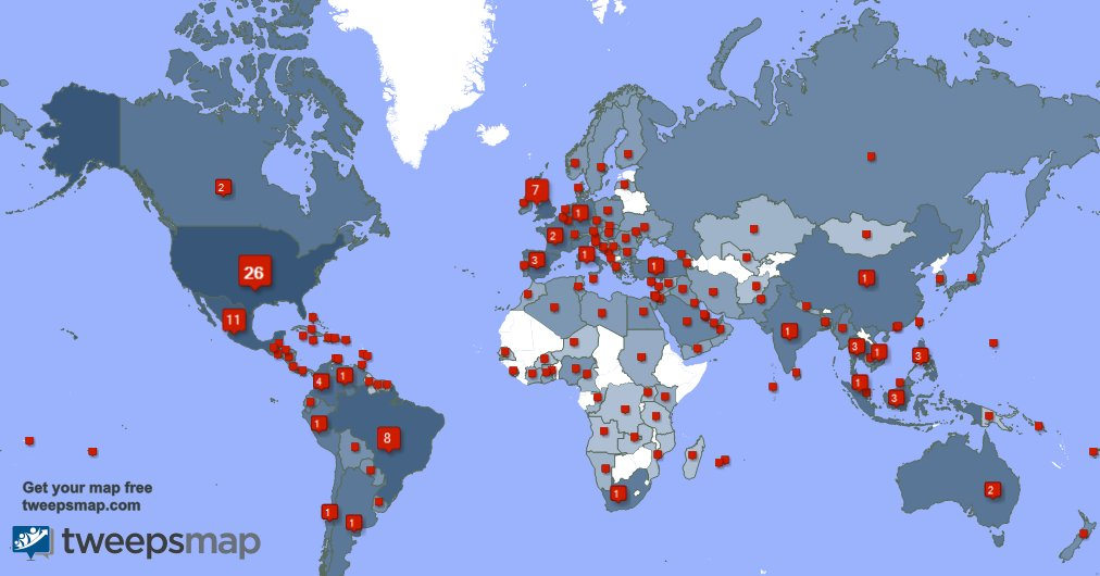 Special thank you to my 269 new followers from UK., Mexico, Brazil, and more last week. tweepsmap.com/!DMXgear