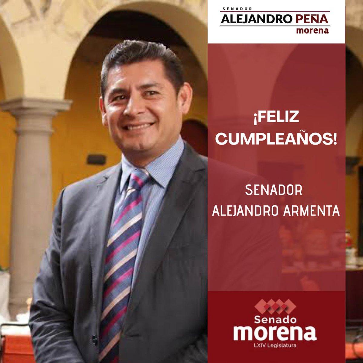 Deseo un feliz cumpleaños a mi compañero y amigo en @MorenaSenadores, Senador @armentaconmigo, los mejores deseos y éxitos. Te mando un afectuoso abrazo🎂 https://t.co/mFIwYP0RW5