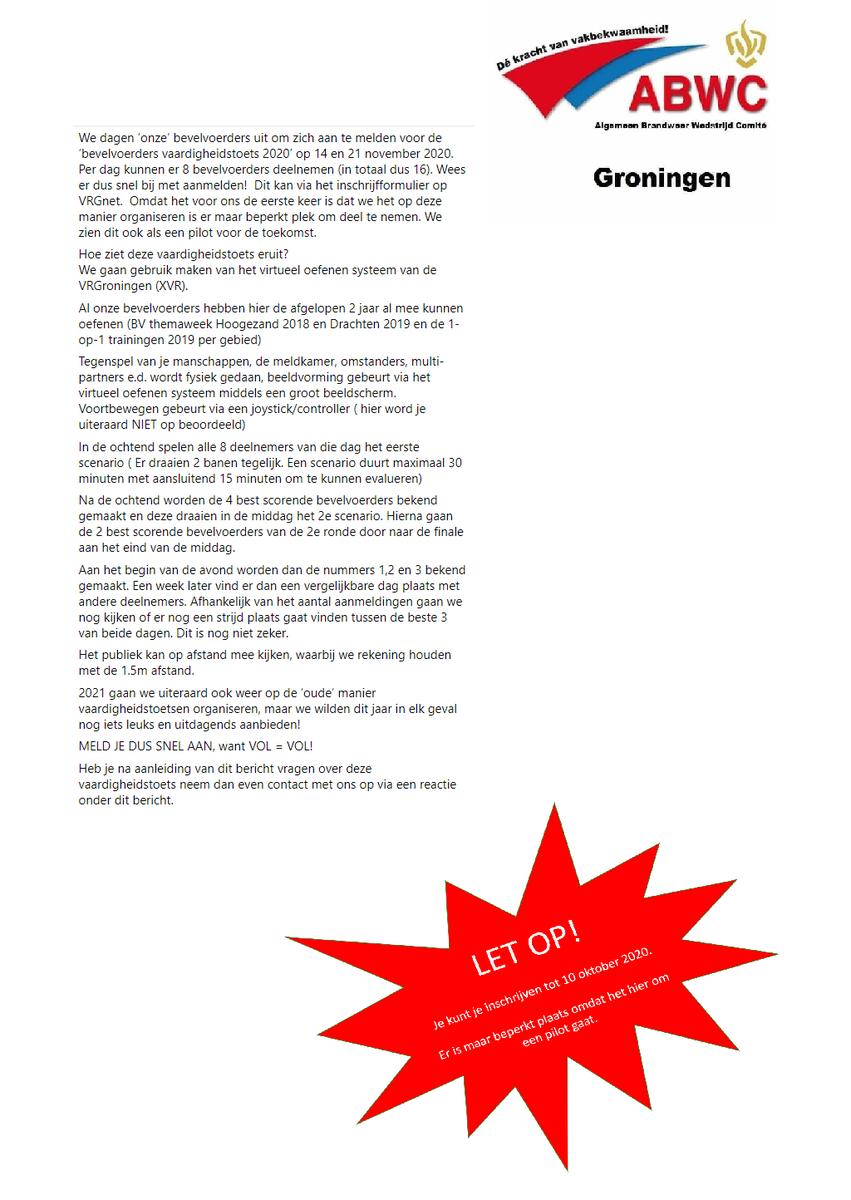 Toch nog een vaardigheidstoets in 2020!   Je kunt hier alleen als Bevelvoerder aan deelnemen waarbij je ploeg je uiteraard kan aanmoedigen!   Bekijk de afbeelding voor meer informatie.   Je kunt je aanmelden via VRGnet van de Veiligheidsregio Groningen. https://t.co/O5epw687ki