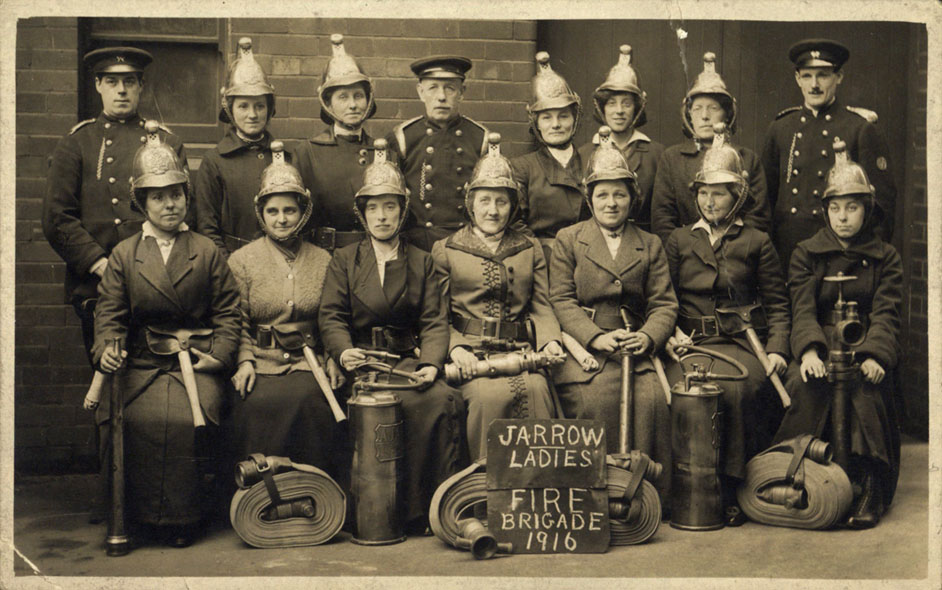 I is for #inferno, as might have been tackled by the #Jarrow Ladies Fire Brigade, pictured here during the First World War in 1916 #ArchiveZ #AtoZ #SouthTyneside