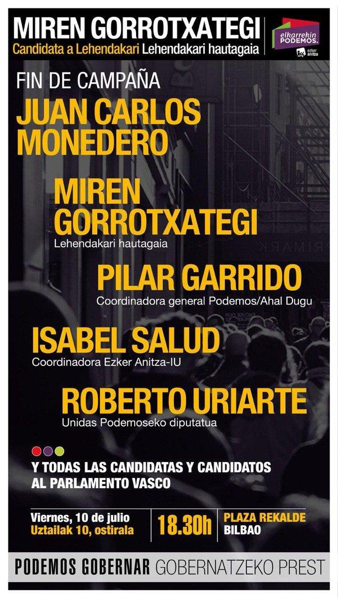 🔴🟣🟢Mañana celebraremos el acto de fin de campaña en la Plaza Rekalde de #Bilbao donde contaremos con el apoyo de @MonederoJC, que nunca falta en Euskadi.😊  Te esperamos, ¡tú eres Podemos! #PodemosGobernar    📹https://t.co/PAwUB3gqLf https://t.co/GGFrZVPVYS