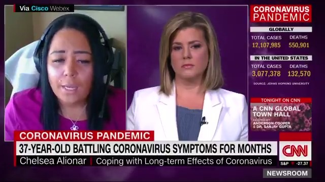 """37-year-old Chelsea Alionar has been battling coronavirus since March 9.  She says she has difficulty breathing, short-term memory loss, insomnia and rapid heart rate.   """"This is far and above the toughest thing that I have ever had to go through."""" https://t.co/8znZHD9ZXi https://t.co/SN2cCyIQ5k"""