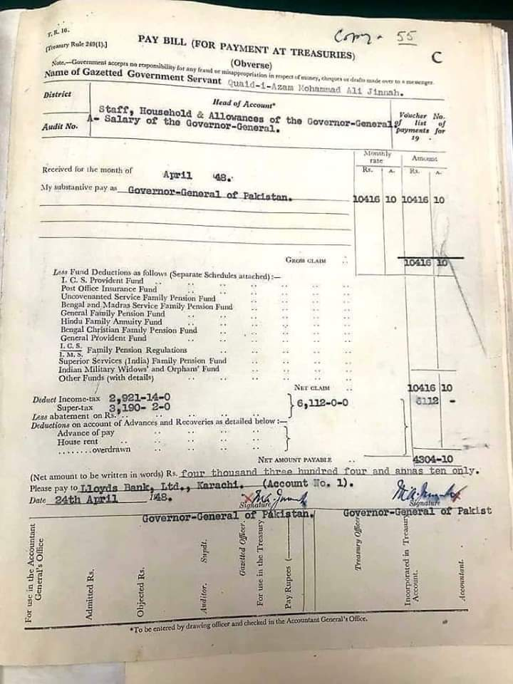 #QuaideAzam Salary Slip  Rs 10,416  Tax Rs 6112  Actual Total Salary Rs 4304 https://t.co/l7MGCXTvFW