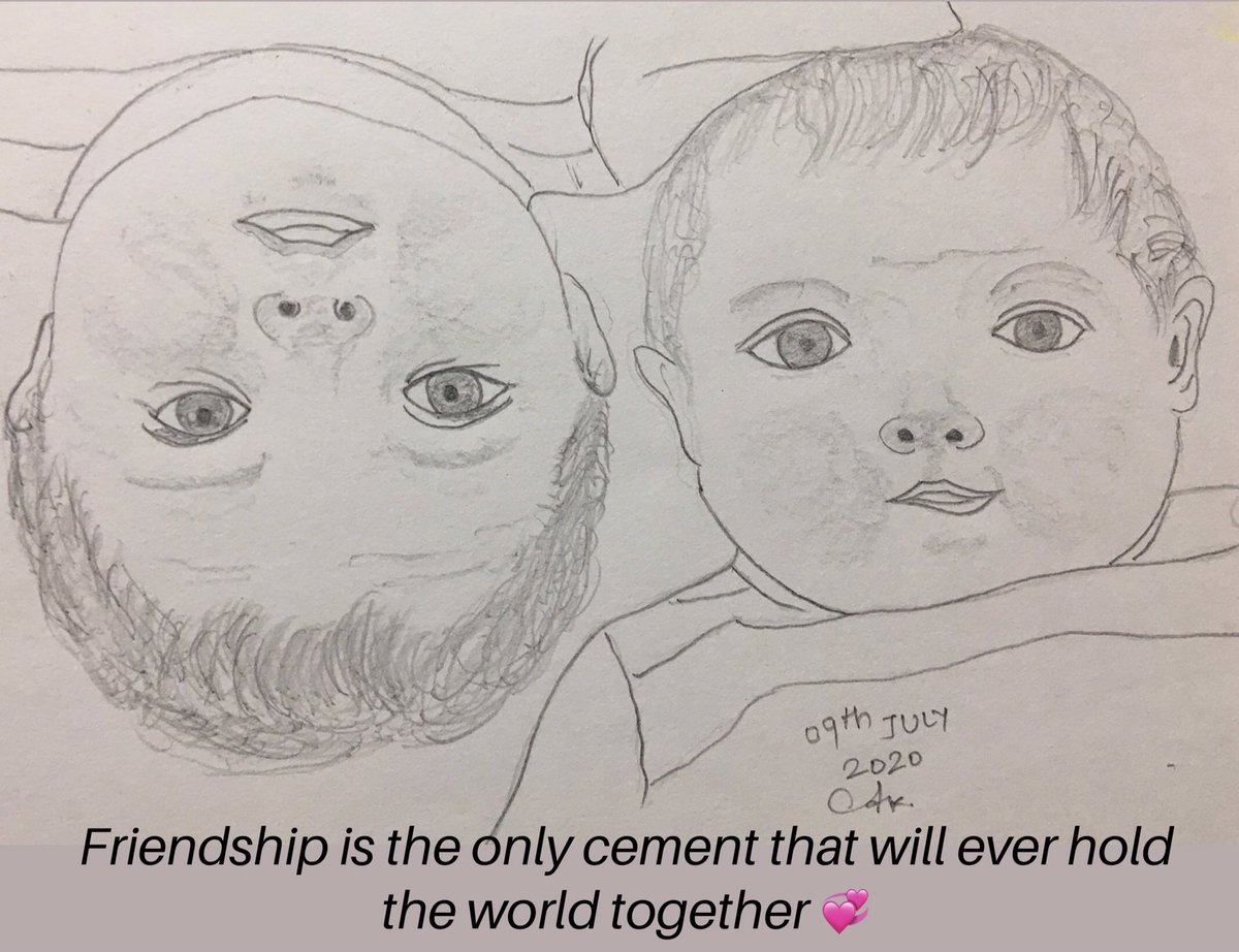Friendship is the only cement that will ever hold the world together#art #artist #artwork #artgallery #artlovers #drawings #sketches #artvsartist2020 #painting #powai #mumbaipic.twitter.com/0MRjk9JZsw