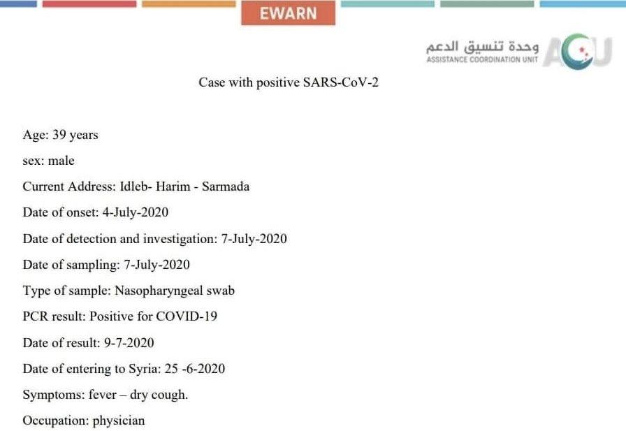 First case of SARS-CoV-2 in #Idlib. #COVID19 #Syria