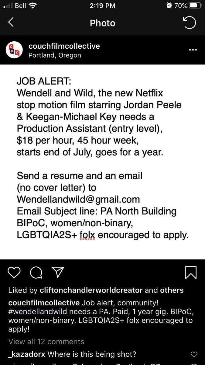 Hi again! The project i am working on is looking for a production assistant so if you are in Portland, OR, and looking to work on an animated film w a predominantly POC cast of characters send ur resumes to the address below! Spread the word!