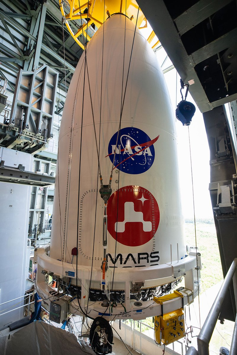 I'm now 129 feet (39 meters) closer to Mars, encased on top of the rocket that's going to send me there. This is a huge step for me and my team. We got here together, and we'll make it to Mars the same way. https://t.co/5Hwya0pfkA #CountdownToMars https://t.co/qZ6gwk8wNo