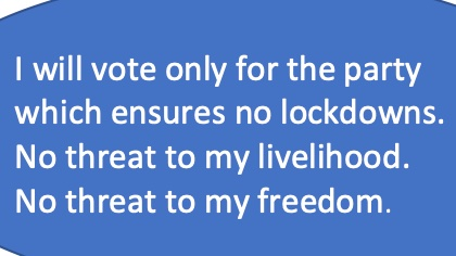 #unlockindia  @INCIndia  @AamAadmiParty  @BJP4India  @jantadal @TOIIndiaNews I will vote only for the party which ensure no lockdown. No threat to my livelihood. No threat to my freedom. https://t.co/jcMeCcL8yb