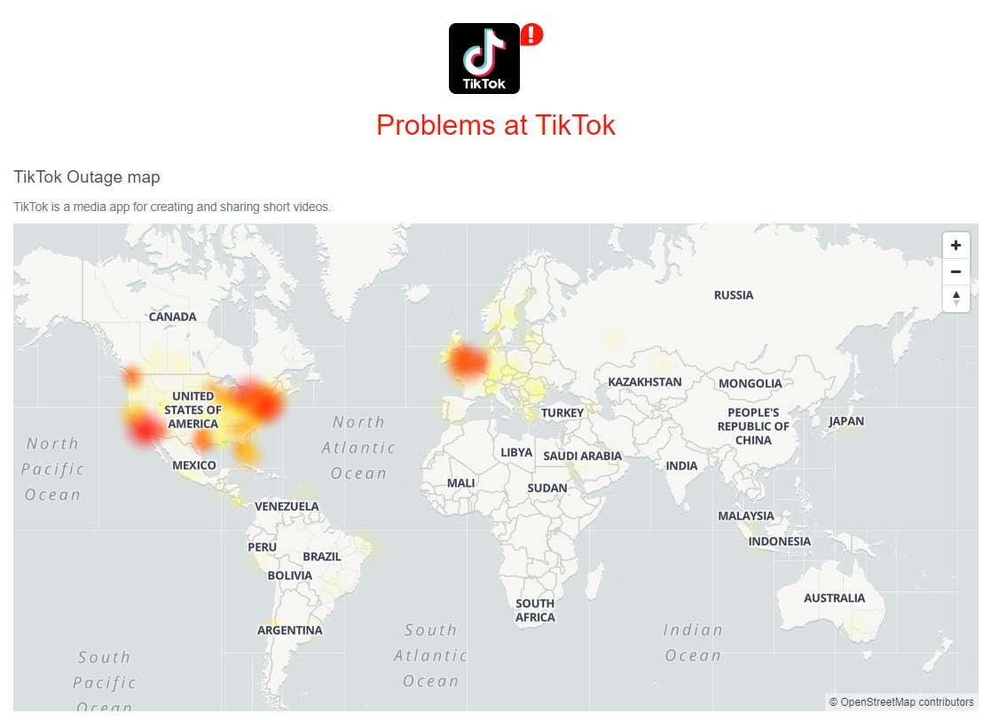 TikTok is down. Technical issues, but hopefully the outage will be permanent once the Justice Department makes it illegal. It is Chinese spyware, after all. https://t.co/loEb1tIOVC