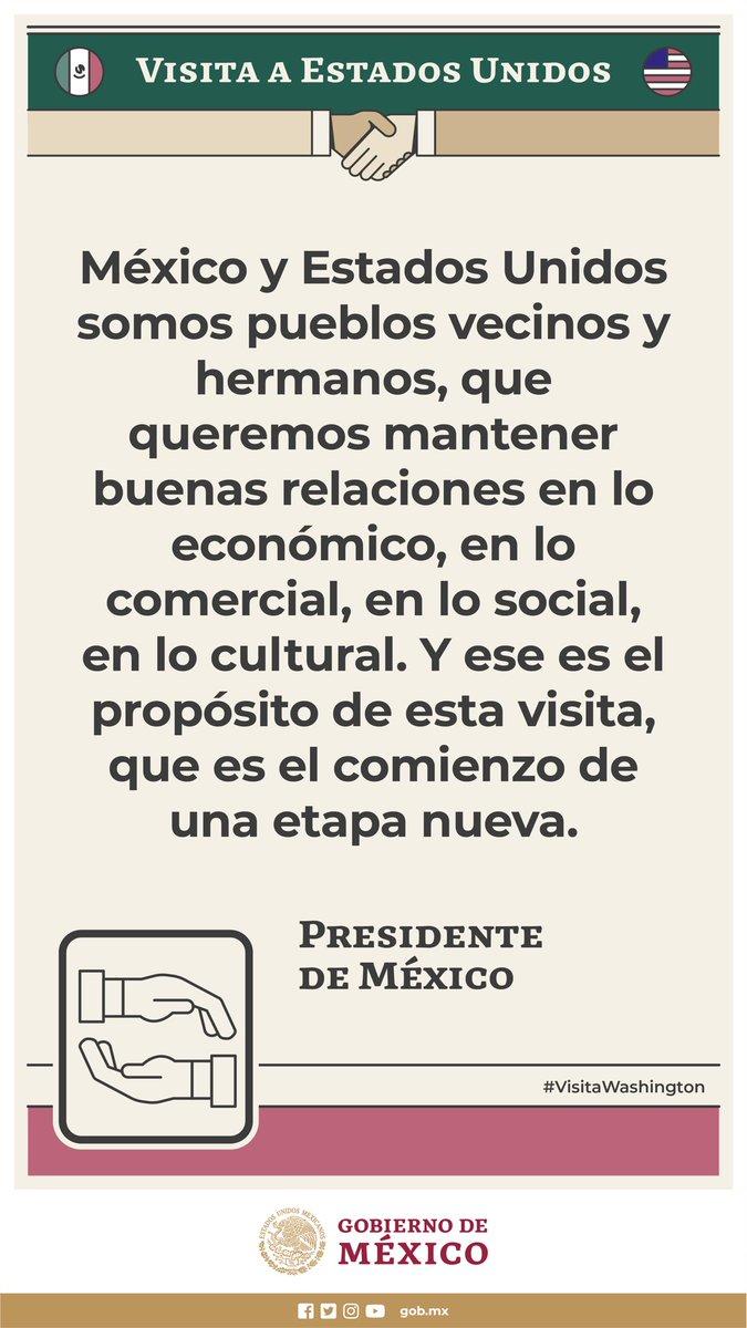 Durante la #VisitaWashington, el presidente @lopezobrador_ destacó que el #InicioTMEC marca una nueva etapa en las relaciones entre México y Estados Unidos.  Además, es una oportunidad para que las y los empresarios de ambas naciones inviertan, generen empleos y bienestar. https://t.co/dYp1AY2fbr