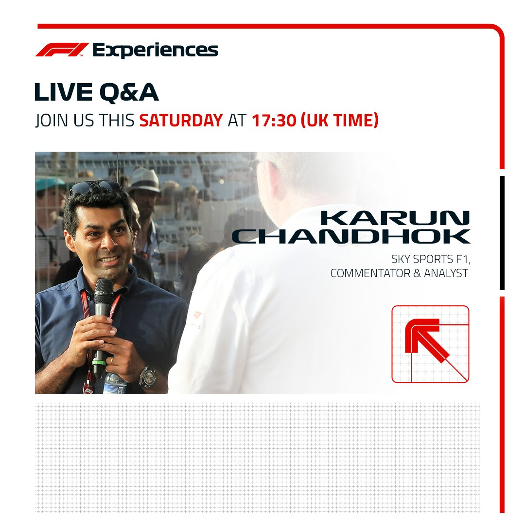Join us live this Saturday with @SkySportsF1's @karunchandhok on our Instagram (https://t.co/3cFYfTii9b) to discuss qualifying and look ahead to Sunday's #AustrianGP 🇦🇹  Don't forget to tune in!   #ExperienceF1 https://t.co/QDFBCFKD6w