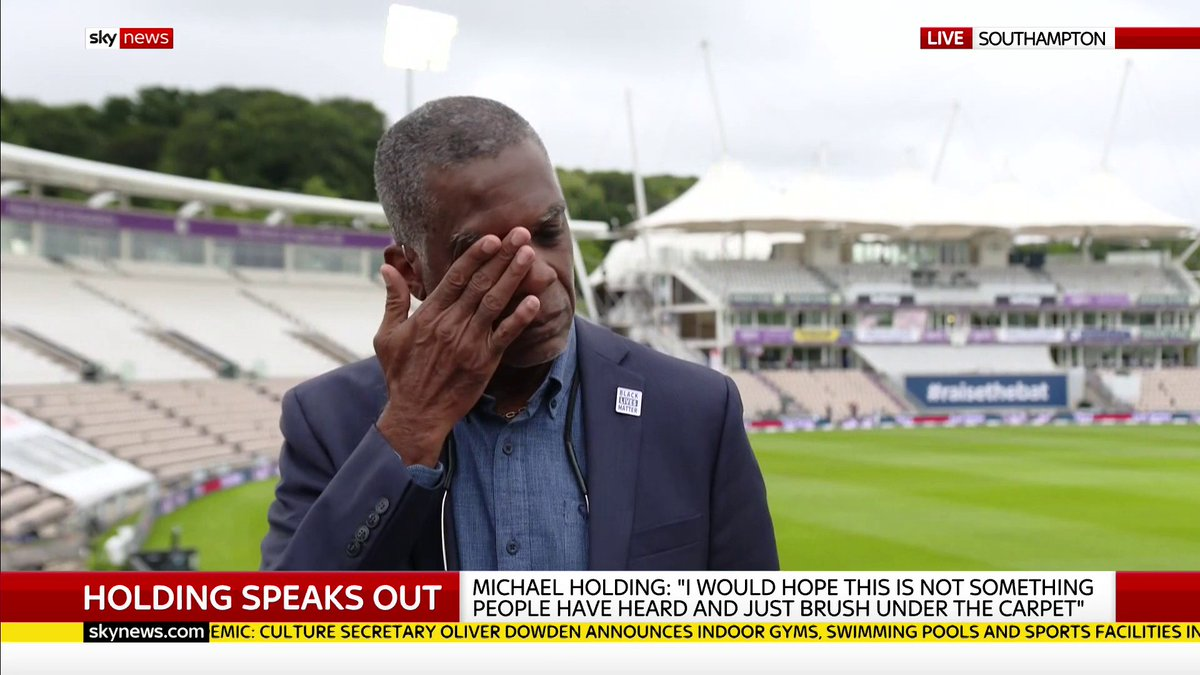 """Even if it's a baby step at a time. Even a snail's pace. But I'm hoping it will continue in the right direction. Even at a snail's pace, I don't care""  Michael Holding fights back tears as he recalls the prejudice faced by his parents."