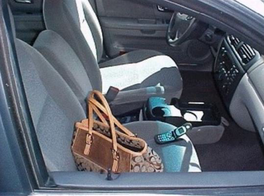 They say a picture is worth a thousand words- or a thousand dollars! Have you done this? Have you left your purse, wallet, cell phone, briefcase, or computer in your car?  This is so tempting for thieves.  Don't become a victim, remove your belongings every time you park your car pic.twitter.com/dZnnCPTYSX
