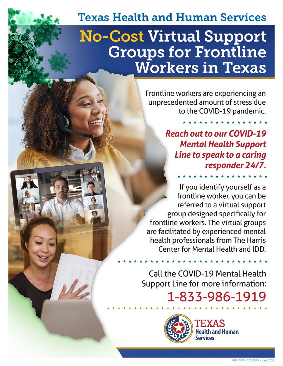 Frontline workers are experiencing an unprecedented amount of stress. 😷  Call the @TexasHHSC #COVID19 Mental Health Support Line at 833-986-1919 to speak to a caring responder 24/7.   You can be referred to a virtual support group for frontline workers. #TexansRecoveringTogether https://t.co/EE5EZJwTwu