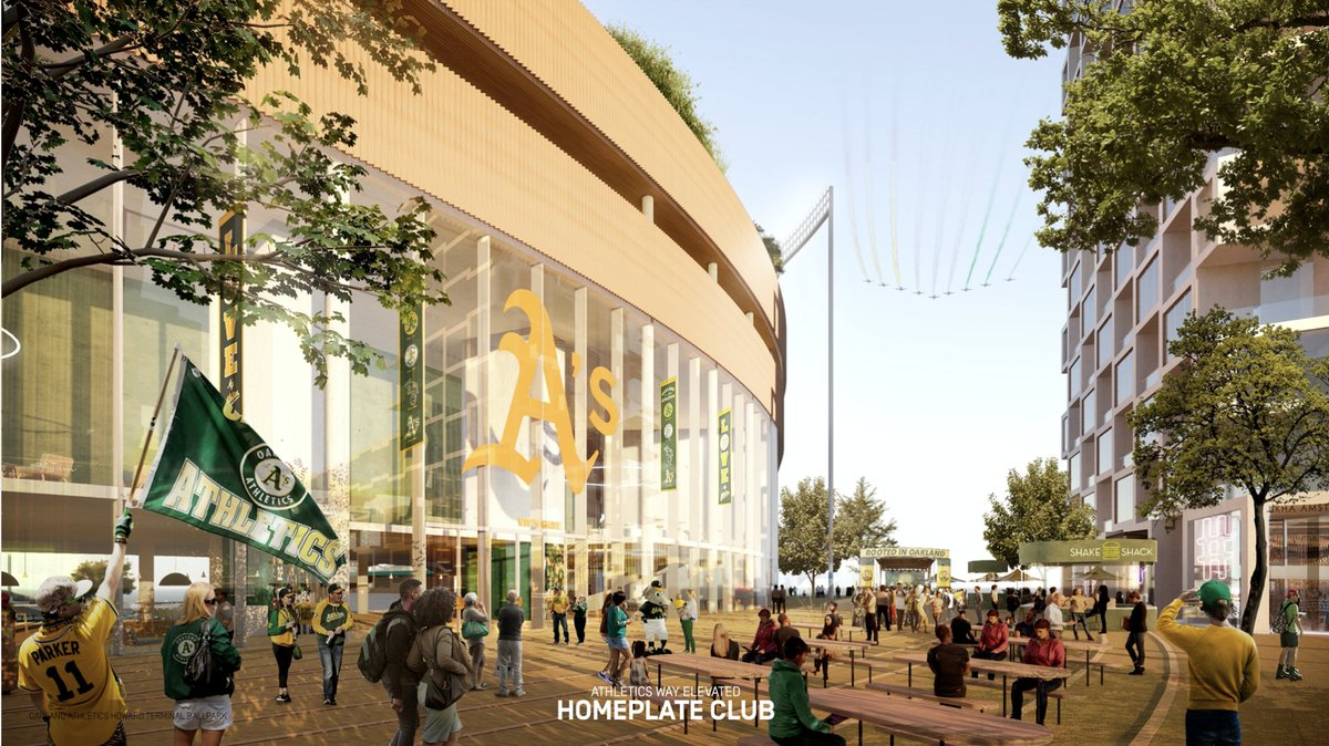 Athletics Way will be lined with retail.  It will be awesome.  Great place to grab a beer or bite of food ahead of the game. The waterfront parks will be a signature item too especially with the cranes. #rootedinoakland https://t.co/UDqPz3xNec https://t.co/0dFI3cOlMw