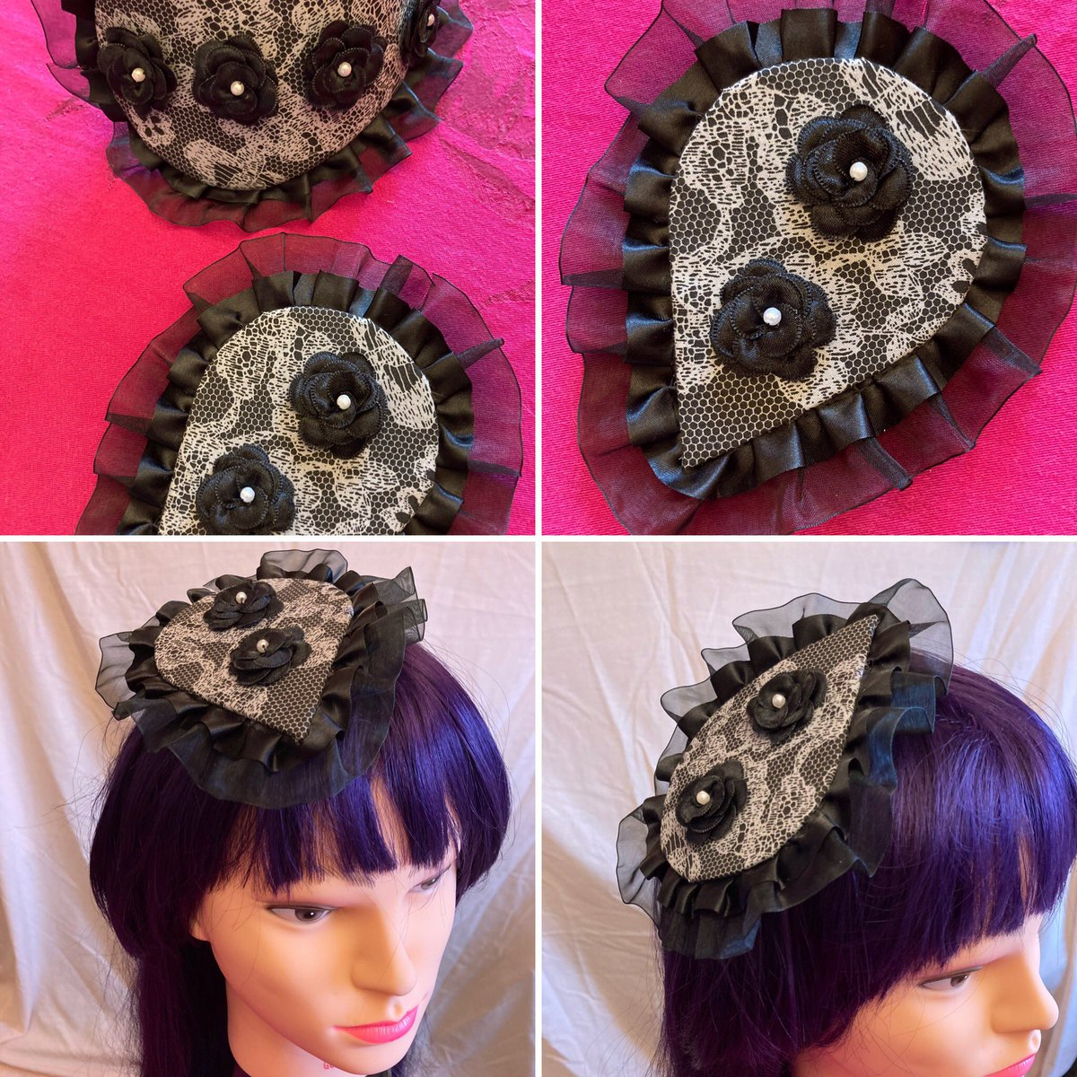 Made today! Mini fascinator to match yesterday's. A mother/daughter set. Both very cute and stylish #fascinators #millinery #goth #halloween #eyes #googlyeyes #createdtoday #homemade #craftpic.twitter.com/1MmLKRR5yU
