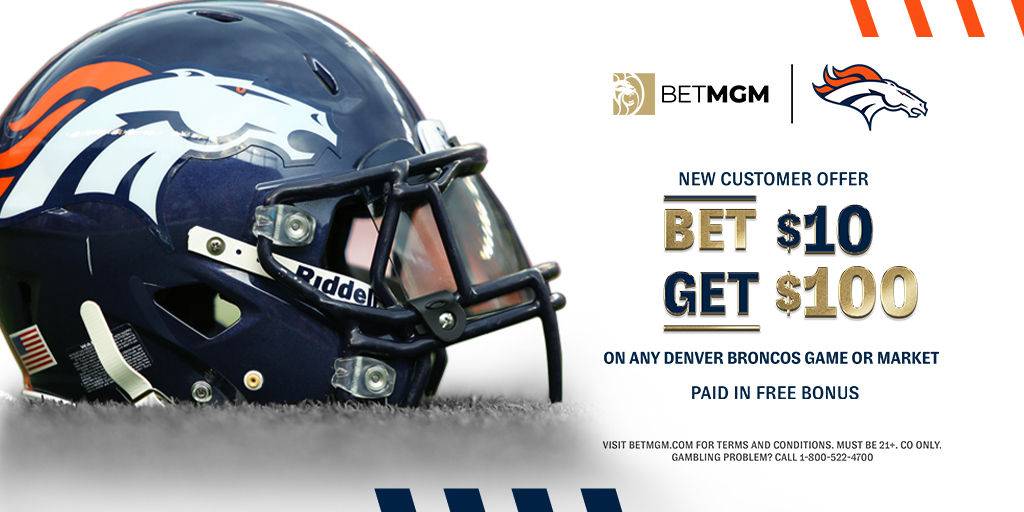 👇 @Broncos Fans 👇   New Customers to BetMGM Colorado Get a $100 Bonus When You Bet $10 or more on your favorite team!   BONUS CODE: BRONCOS  🔗: https://t.co/qX676pMe1e https://t.co/WXGL2fbFo6