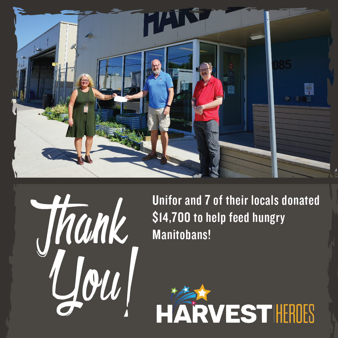 Thank you to Unifor and seven of their locals who donated $14,700 to help feed hungry Manitobans!  #ThankfulThursday https://t.co/qPIBhdZ70K