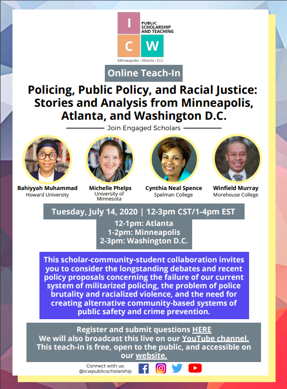 "Check out @DrBMuhammad1 at this online teach-in for ""Policing, Public Policy, & Racial Justice"" on July 14  and July 29. This is why she was a worthy contribution to our Police Reform Advisory Group. #policereform #culturallyresponsivesolutions"