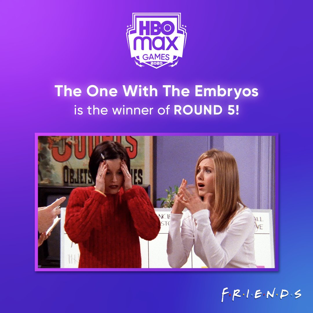 And The One With The Embryos is the winner of Round 5! Voting is now open for Round 6 of #HBOMaxGames