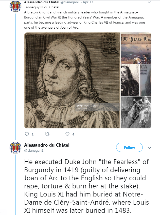 "Alessandro Valerin 4th Twitter account @clanegan1 REPORTED & SUSPENDED  Valerin posted a death threat against me on this new Twitter account  He claimed an ancestor executed a ""Duke of Burgundy"" ""Gabe, you are the Duke of Burgundy in this scenario, the end won't be kind to you."" https://t.co/459mrFkgtJ"