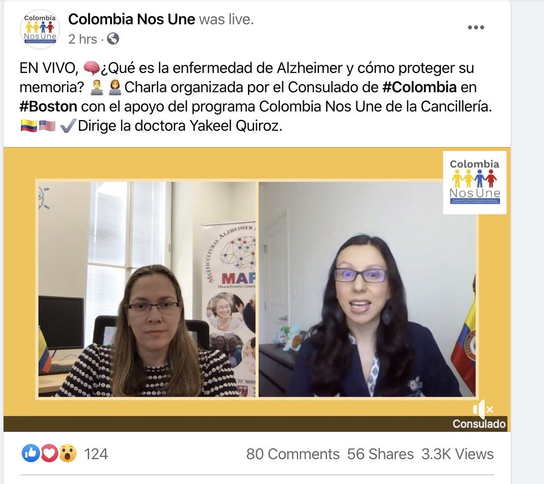 wow! More than 3k viewers joined for my Facebook Live talk about #Alzheimers disease and #memory! 🤗 More than 80 live questions/comments! Just amazing!! 😊Thanks @CancilleriaCol and Consulate of Colombia in Boston for the invite!👍🏼 @MGHmapp @MGHNeuroSci https://t.co/lDy7gPoG6G