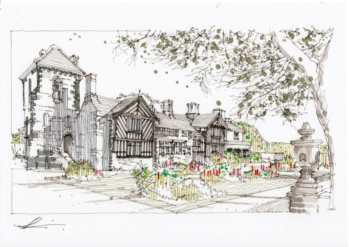 Day 112 - Shibden Hall @ShibdenHall  for @NoAitchAlifax - I do hope you enjoy it. Tomorrow is Faversham Guildhall for @Tim_Stonor. There's about 3 weeks of requests now left! Thanks again for your donations to @SSAFA :) #isolationart #drawingoftheday https://t.co/wDm2jFoMOd