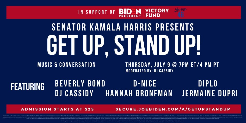 It's not too late to get your tickets for tonight's #GetUpStandUp2020—a virtual dance party in support of @JoeBiden! Tickets starting at $25: bit.ly/320hZOC