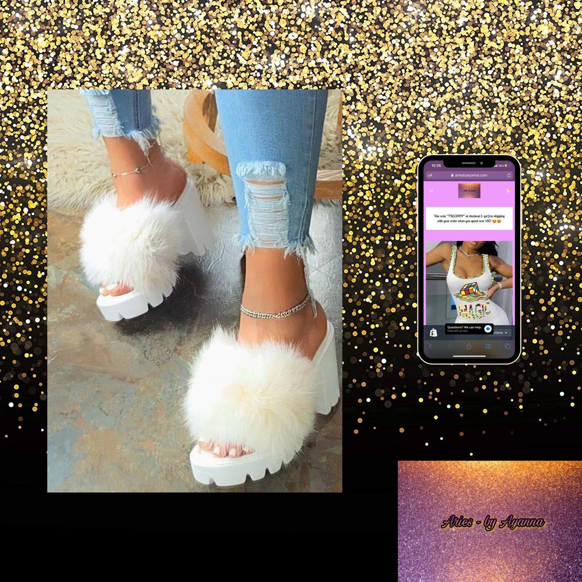 New! White fluff chunky high heels  To purchase/shop now visit http://ariesbyayanna.com #fashion #shopping #clothes #dress #shop #love #blackbusiness  #slides #sandals #furslides #summer #summertimepic.twitter.com/MoU68hltz8