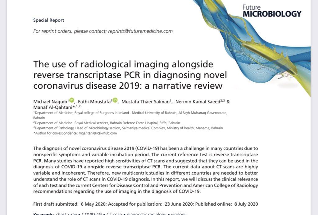تم نشر البحث العلمي في احد المجلات الطبية بالتعاون مع @RCSI_Bahrain والذي تطرقنا عن تشخيص #فيروس_كورونا بمقارنة الاشعة المقطعية مع PCR  . Our recent publication with @RCSI_Bahrain https://t.co/n16tkegjg0