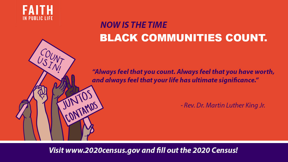The #2020Census is the foundation for fairly choosing our leaders and building the country we want to see. If we want to ensure #BlackLivesMatter in our nation's laws, it's critical that Black communities are fully counted. Respond @ https://t.co/Oa3iPiprgD #FaithfulCensus https://t.co/xAoRlx2zpk