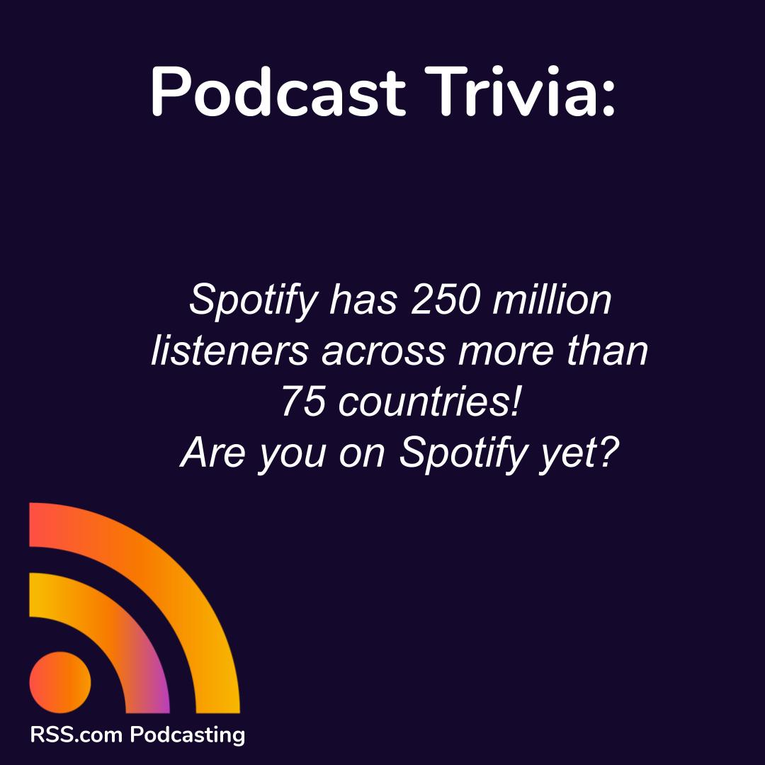 Spotify has 250 million listeners across more than 75 countries! Are you on @SpotifyPodcasts yet? Learn how to upload a podcast to the platform here: https://t.co/g0Ewoizmr2  #spotify #startapodcast #podcasting https://t.co/SYCUiAk6at