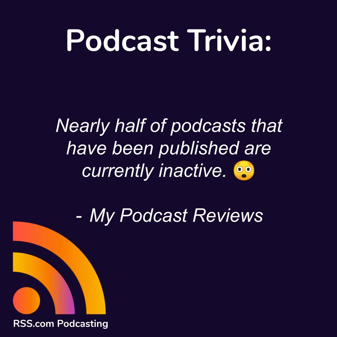 According to My Podcast Reviews, nearly half of podcasts that have been published are currently inactive. Read more industry statistics on their page here: https://t.co/QRBZxFuZH2  #podcasting #trivia #themoreyouknow https://t.co/JmaX9rMrn3